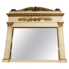 Antique Mirror in Carved Wood, Lacquered and Gilded, 19th Century, Italy