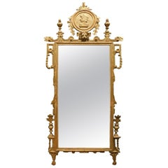 Antique Mirror in Gilded and Richly Carved Wood, 18th Century Florence 'Italy'