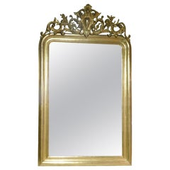 Antique Mirror with Carved and Gilded Rib, Leaves and Frames 19th Century France
