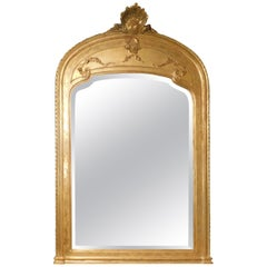 Antique Mirror with Gilded Frame, Large Decorated Bezel, 19th Century Italy