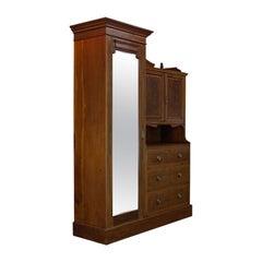 Antique Mirrored Wardrobe, English, Edwardian, Mahogany, Compactum, circa 1910