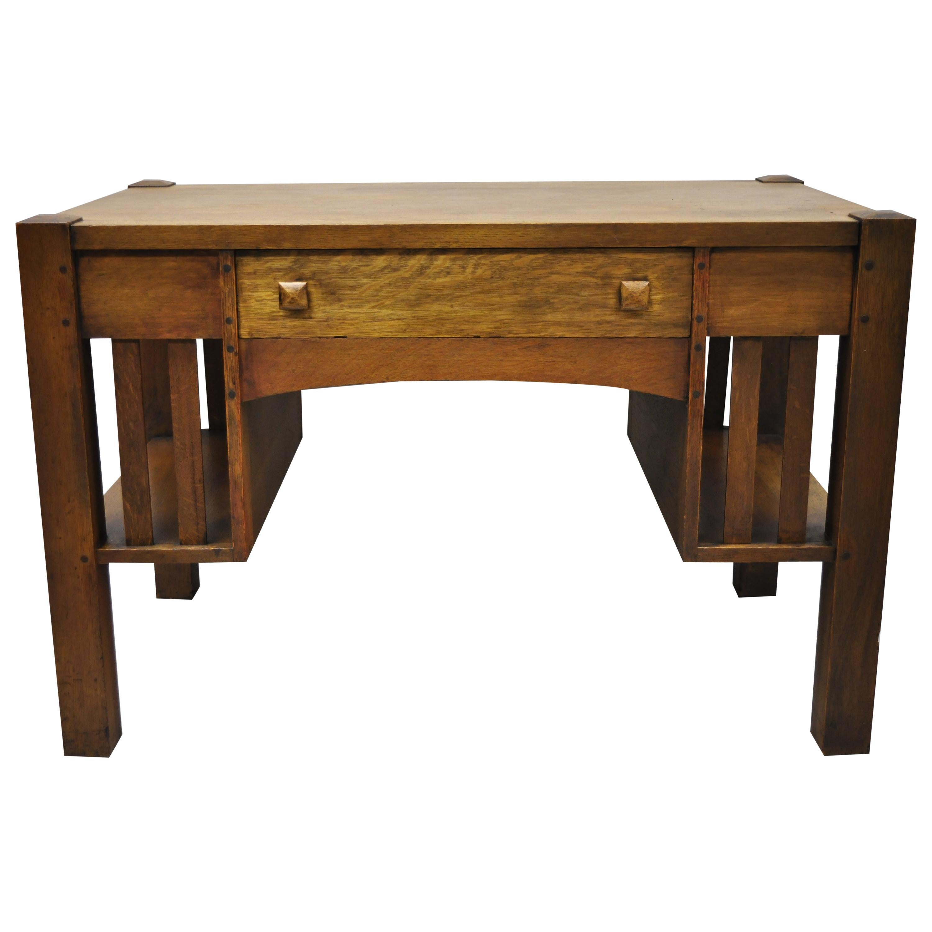 Antique Mission Oak Arts And Crafts Library Desk Table