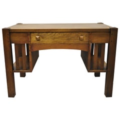 Antique Mission Oak Arts & Crafts Library Desk Table Bookcase Sides