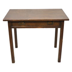 Antique Mission Oak Arts & Crafts One Drawer Work Table Stand Writing Desk