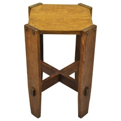 Mission Oak Arts & Crafts Side Table Plant Stand Attributed to Stickley Bros