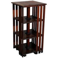 Antique Mission Oak Arts & Crafts Style Oak Revolving Bookcase, circa 1920