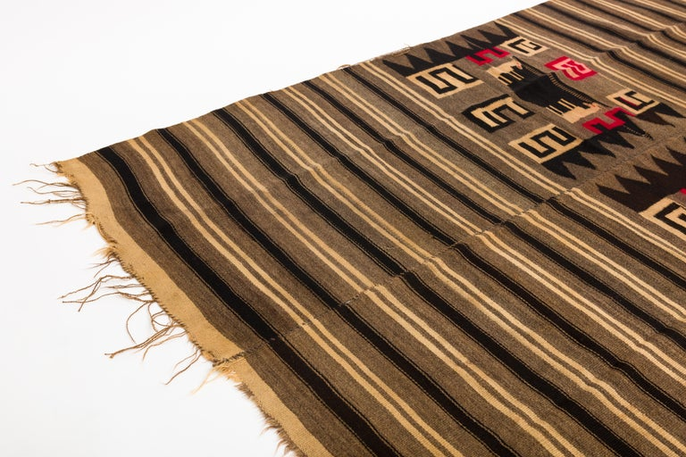 Hand-Woven Antique Mixtec Highlands Mexican Wool Serape Blanket For Sale