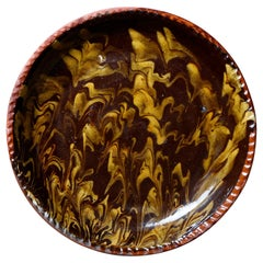 Antique Mocha Decorated Redware Pottery Pie Plate Dish, 19th Century