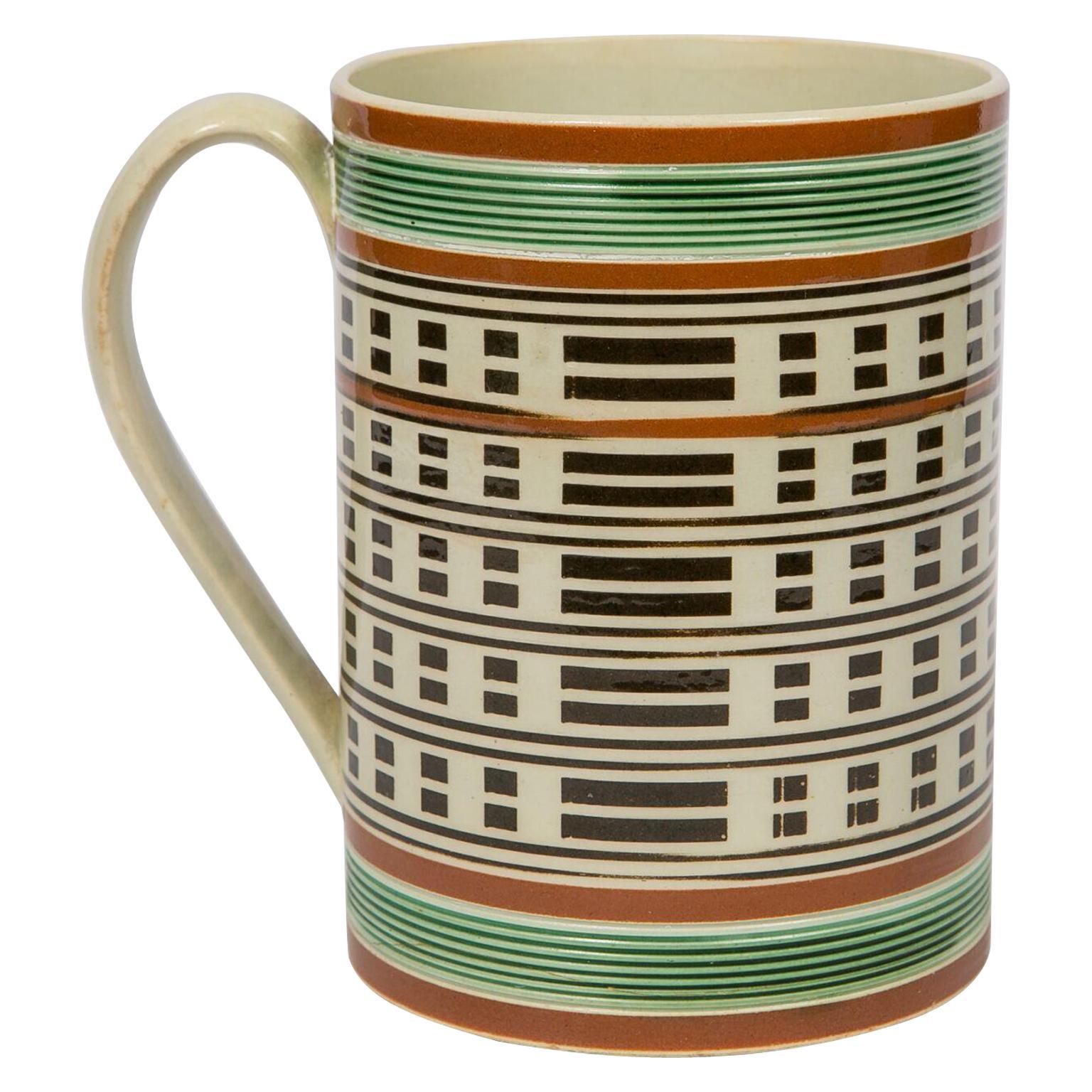 Antique Mochaware Mug Slip Decorated Made in England, circa 1815