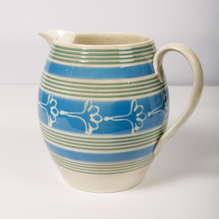 Antique Mochaware Pitcher Decorated with Bands of Powder Blue and Green Slip For Sale 3