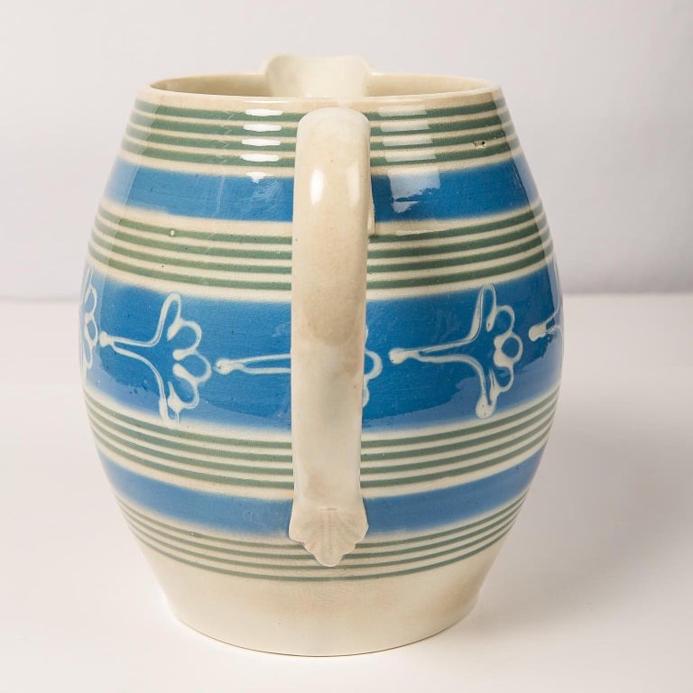 Antique Mochaware Pitcher Decorated with Bands of Powder Blue and Green Slip For Sale 4