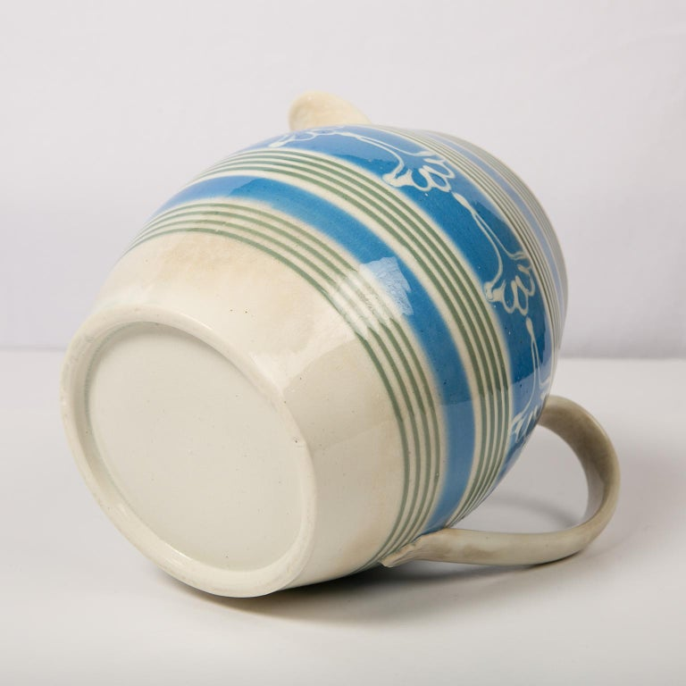 Folk Art Antique Mochaware Pitcher Decorated with Bands of Powder Blue and Green Slip For Sale