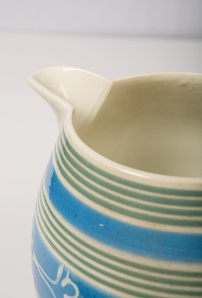 English Antique Mochaware Pitcher Decorated with Bands of Powder Blue and Green Slip For Sale