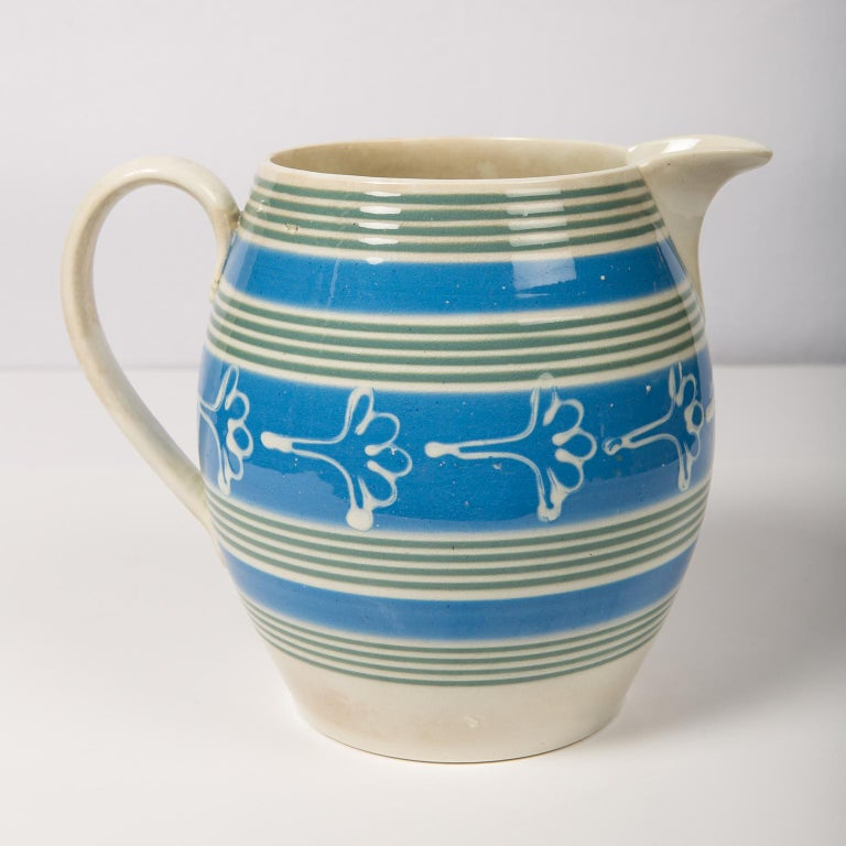 19th Century Antique Mochaware Pitcher Decorated with Bands of Powder Blue and Green Slip For Sale