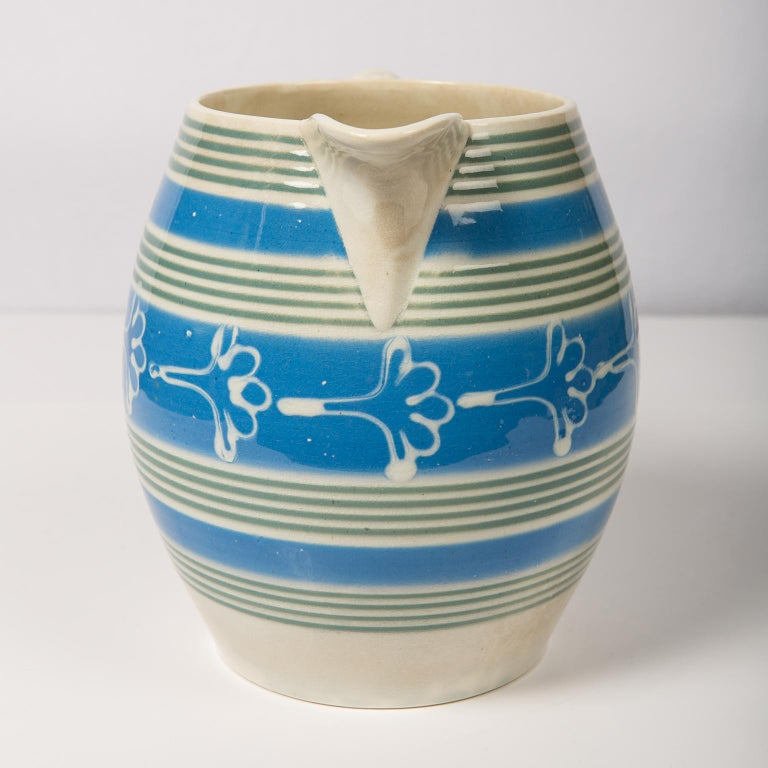 Pearlware Antique Mochaware Pitcher Decorated with Bands of Powder Blue and Green Slip For Sale