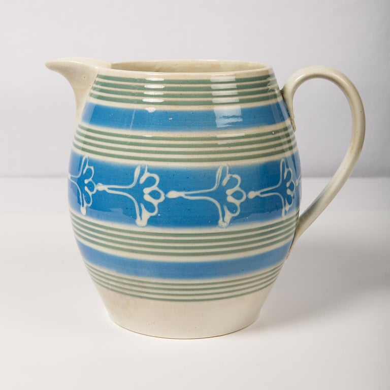 Antique Mochaware Pitcher Decorated with Bands of Powder Blue and Green Slip For Sale 1