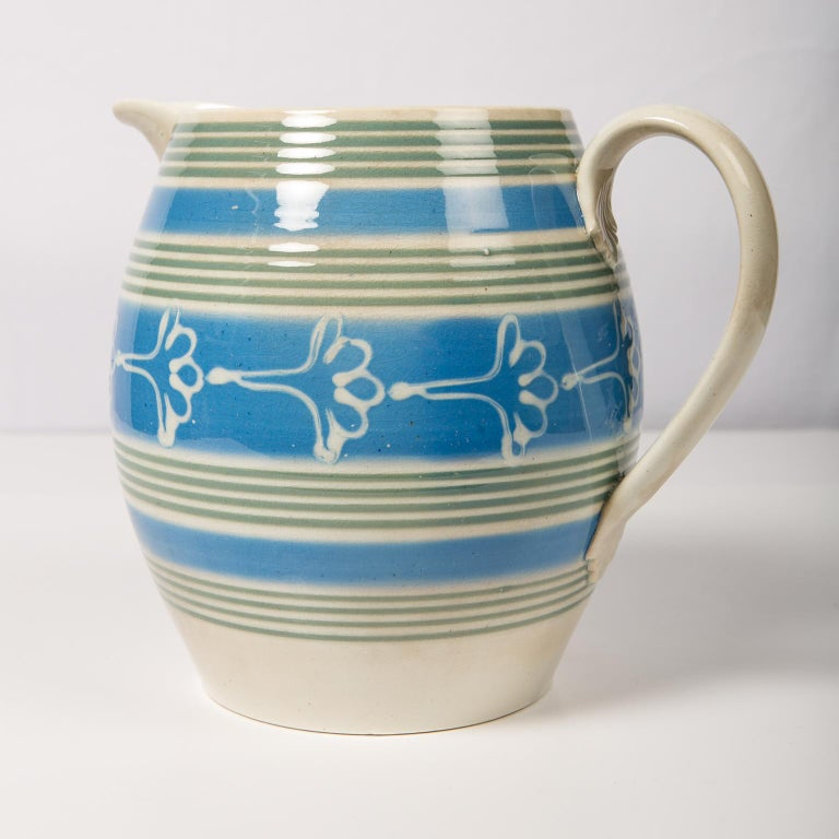 Antique Mochaware Pitcher Decorated with Bands of Powder Blue and Green Slip For Sale 2
