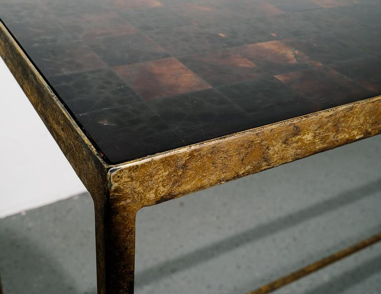 Steel Antique Modernist Tortoiseshell Console Table For Sale