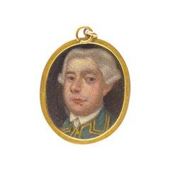 Antique Modest School circa 1790 English Portrait Painting Pendent