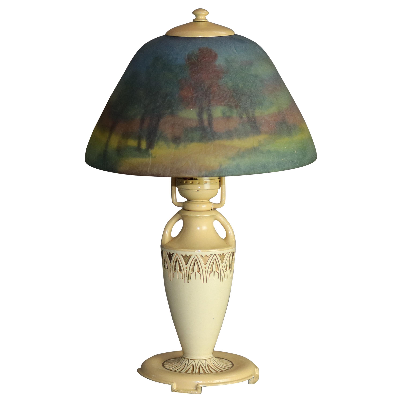Antique Moe Bridges Reverse Hand Painted Boudoir Urn Form Table Lamp, c1920