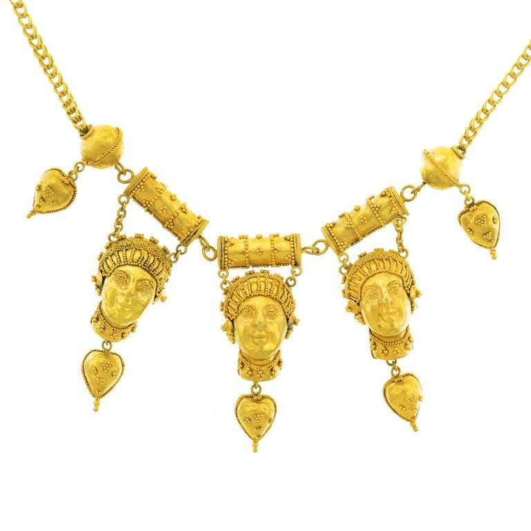 Antique Etruscan Revival Gold Necklace