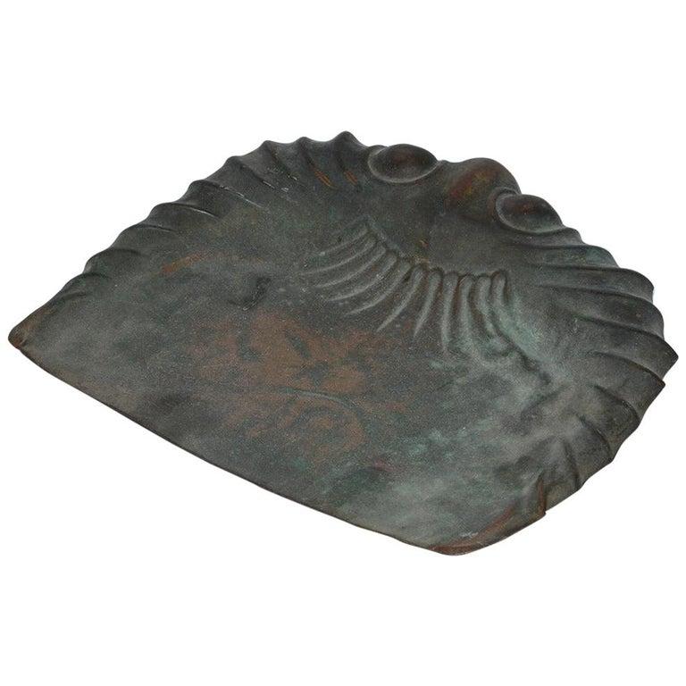 Antique Molded Copper Dust Pan For Sale