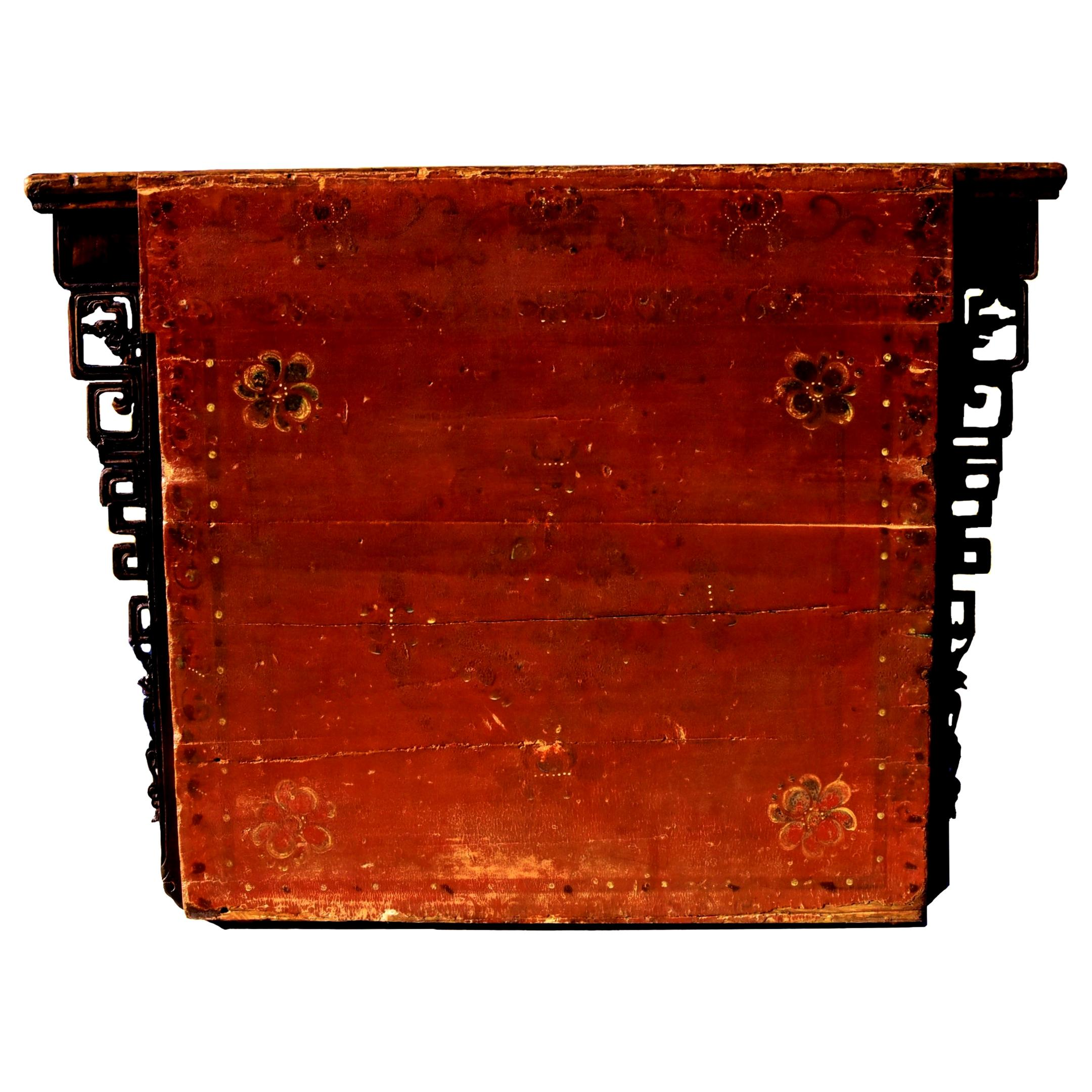 Antique Mongolian Chest, Hand Painted and Carved