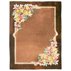 Antique Chinese Art Deco Brown Floral Rug with Handspun Mongolian Yarn