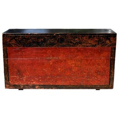 Antique Mongolian Table Chest with 2 Drawers, Hand Painted Dragons and Phoenixes