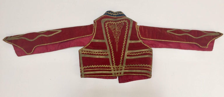 Antique Red Velvet Jacket with Gold Embroidery For Sale 3