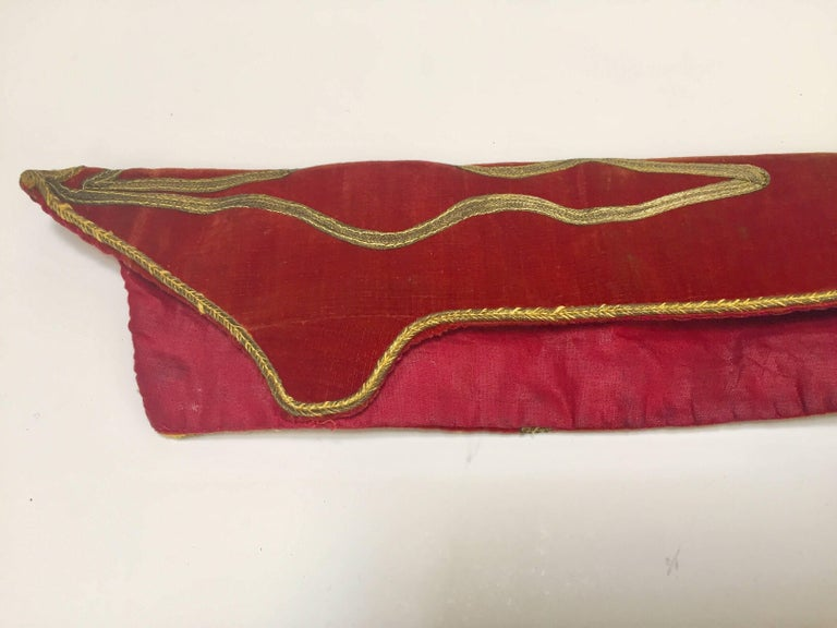 Antique Red Velvet Jacket with Gold Embroidery For Sale 4