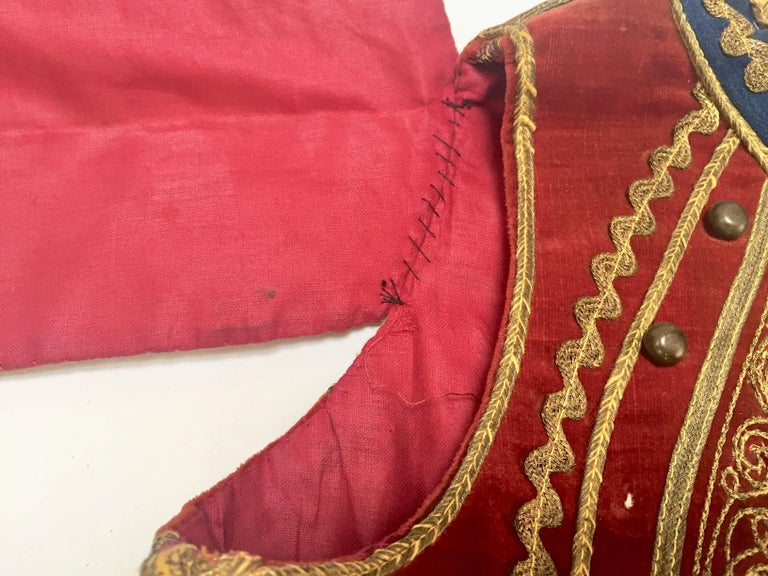 Antique Red Velvet Jacket with Gold Embroidery For Sale 5