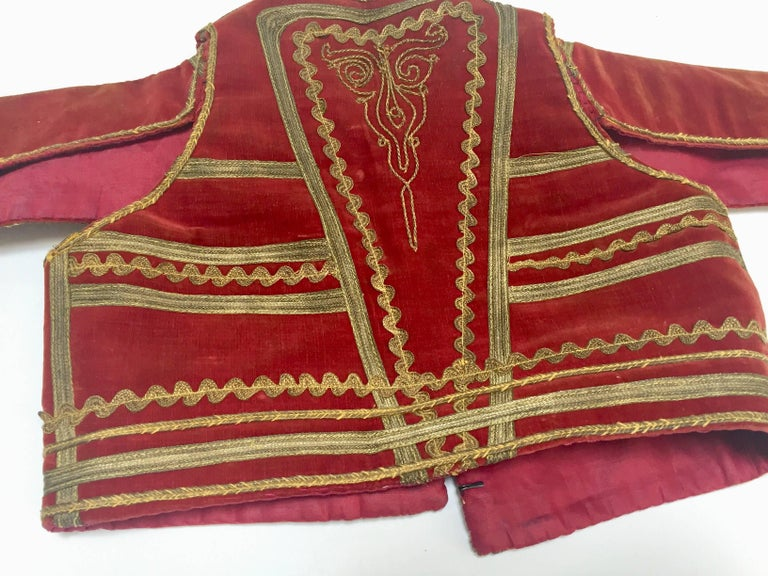 Antique Red Velvet Jacket with Gold Embroidery For Sale 7