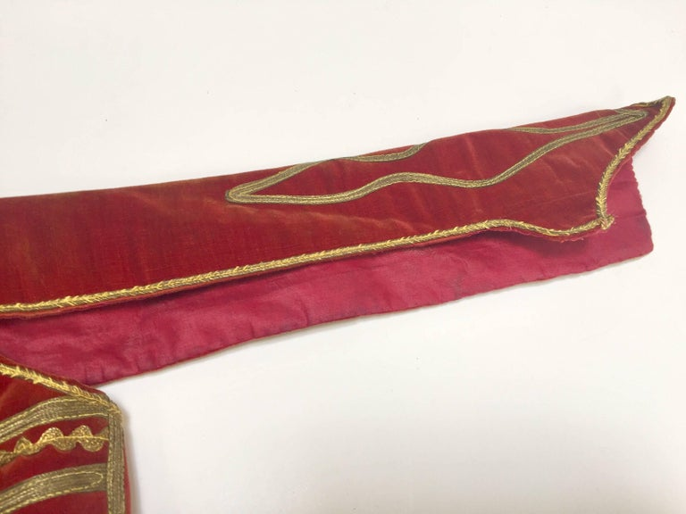 Antique Red Velvet Jacket with Gold Embroidery For Sale 8