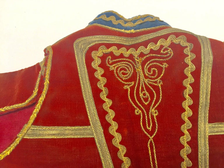 Antique Red Velvet Jacket with Gold Embroidery For Sale 9