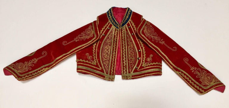 Antique Red Velvet Jacket with Gold Embroidery For Sale 12