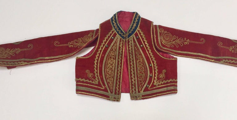 Moorish Antique Red Velvet Jacket with Gold Embroidery For Sale