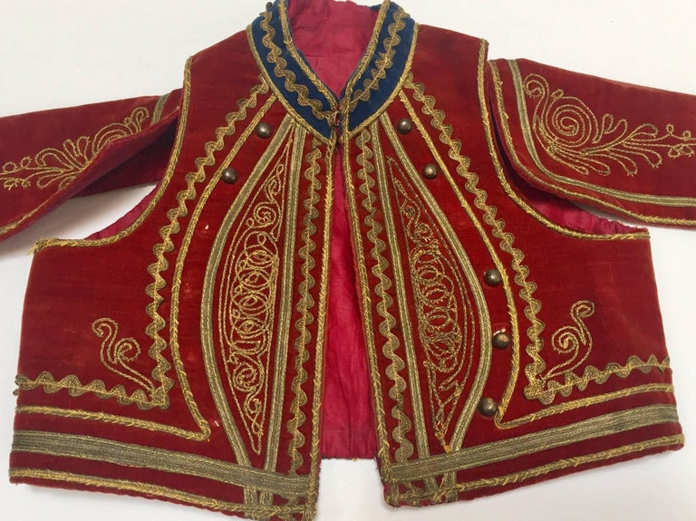 Turkish Antique Red Velvet Jacket with Gold Embroidery For Sale