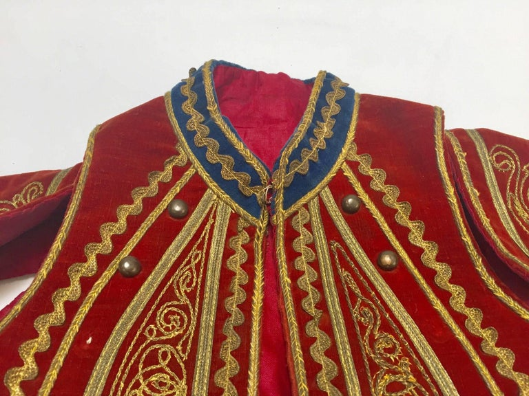 Embroidered Antique Red Velvet Jacket with Gold Embroidery For Sale