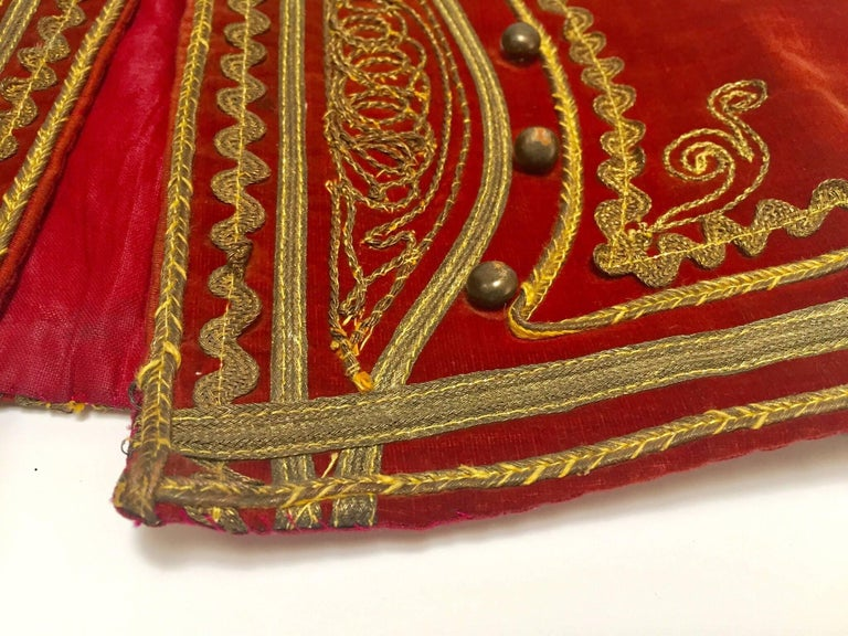 Mid-20th Century Antique Red Velvet Jacket with Gold Embroidery For Sale
