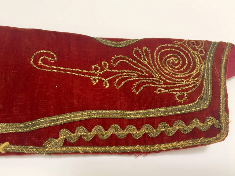 Antique Red Velvet Jacket with Gold Embroidery For Sale 1