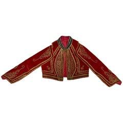 Antique Red Velvet Efe Zeybek Jacket Turkish Vest with Gold Embroidery