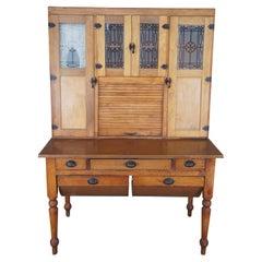 Antique Montgomery Ward & Co Oak Kitchen Hoosier Cabinet Baker Country
