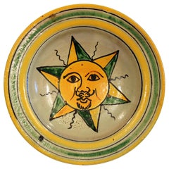 Antique Montiel Guatemalan Pottery Majolica Sun Face Plate Charger Bowl