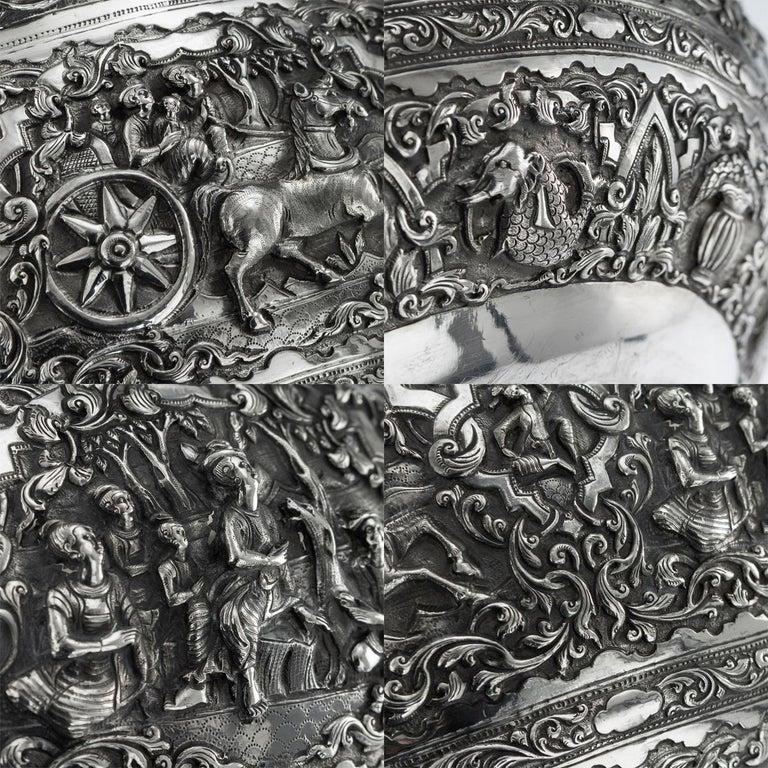 Antique Monumental Burmese Solid Silver Thabeik Bowl, Rangoon, circa 1900 For Sale 8