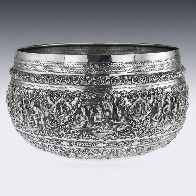 Antique Monumental Burmese Solid Silver Thabeik Bowl, Rangoon, circa 1900 In Good Condition For Sale In London, London