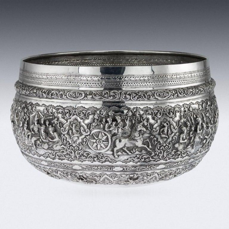 19th Century Antique Monumental Burmese Solid Silver Thabeik Bowl, Rangoon, circa 1900 For Sale