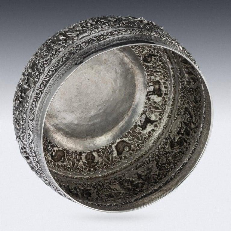 Antique Monumental Burmese Solid Silver Thabeik Bowl, Rangoon, circa 1900 For Sale 1