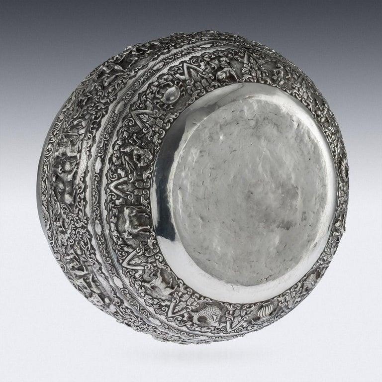 Antique Monumental Burmese Solid Silver Thabeik Bowl, Rangoon, circa 1900 For Sale 2