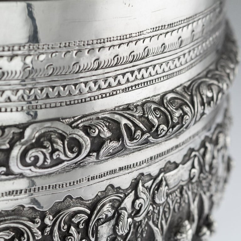 Antique Monumental Burmese Solid Silver Thabeik Bowl, Rangoon, circa 1900 For Sale 3
